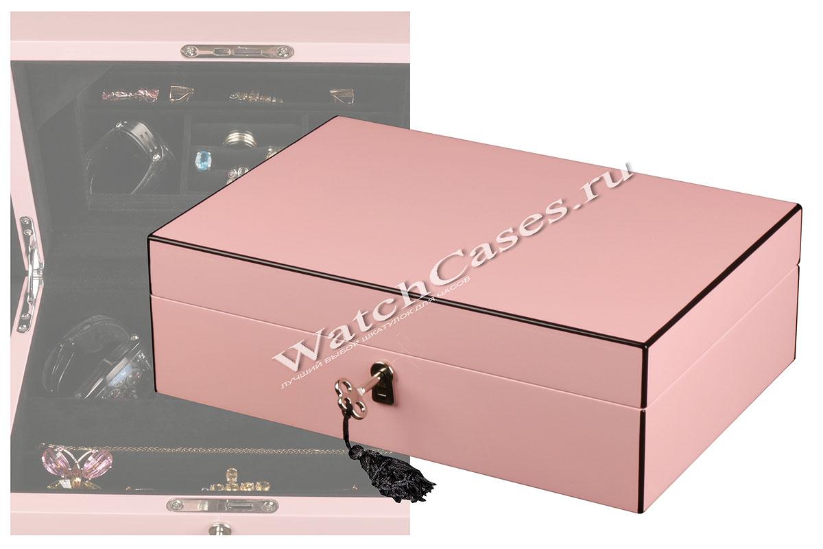 Нежно розовая шкатулка для украшенийШкатулки для хранения часов<br>Миниатюрная шкатулка   розового цвета предназначена для хранения украшений.<br><br>Гарантия: фирменная 18 месяцев<br>Материал: дерево<br>Тип: шкатулка для драгоценностей