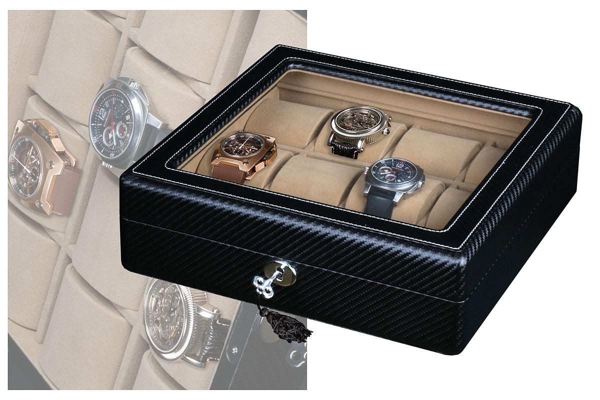 Шкатулка для хранения 12-ти часовШкатулки для хранения часов<br>Стильный бокс предназначен для хранения 12-ти наручных часов.<br><br>Материал: карбон